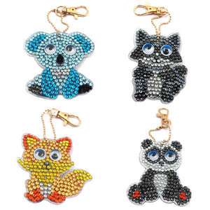 4pcs DIY Full Drill Diamond Painting Cartoon Animal Keychains