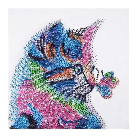 Diamond Painting - Crystal Rhinestone - Butterfly Cat