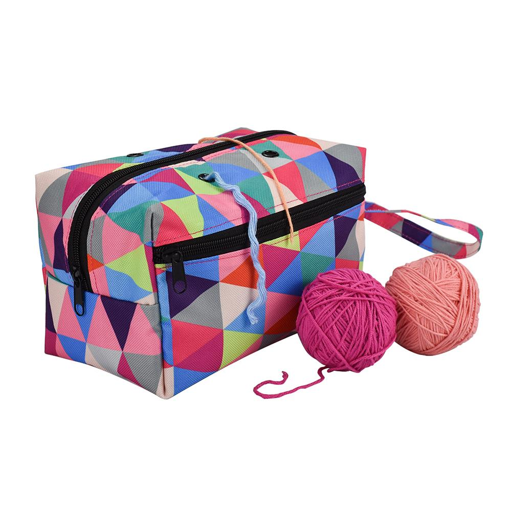 Storage Bag Sewing Kit Organizer Holder Pouch Colorful Crochet Hooks Thread Yarn
