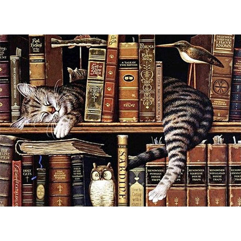 Diamond Painting - Full Round - Cat in Shelf