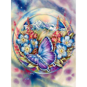 Diamond Painting - Full Square - Flower Butterfly