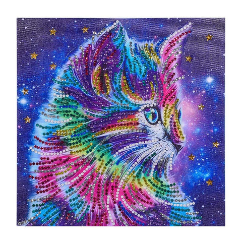 Diamond Painting - Crystal Rhinestone - Color Cat