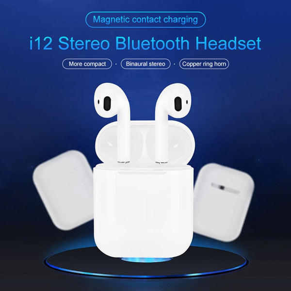 i12 TWS Bluetooth 5.0 Earphones Touch Control Headset with Charging Box