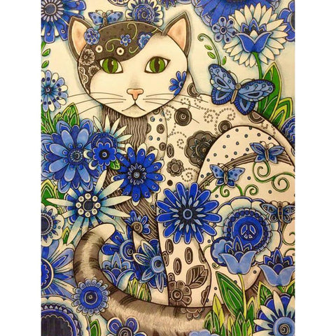 Diamond Painting - Full Round - Flowers Cat