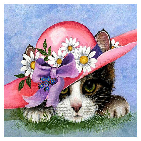 Diamond Painting - Partial Round - Cat in Flower Hat