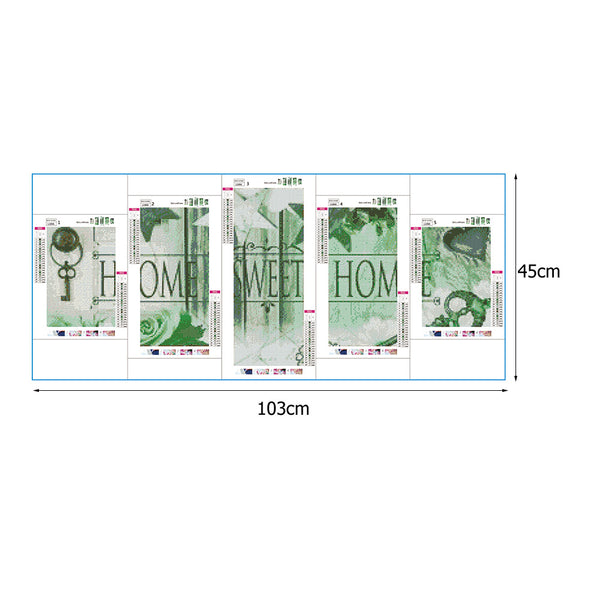 5pcs Diamond Painting - Full Round - Home Sweet Home