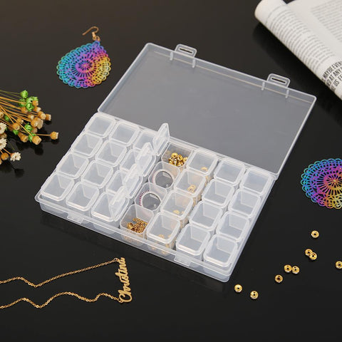 28 Lattices Transparent Container Diamond Painting Accessories Storage Box