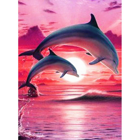 Diamond Painting - Full Round - Dolphin in Red Sea