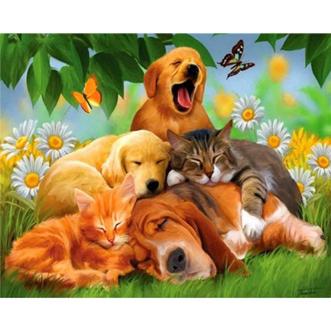 Diamond Painting - Full Round - Lazy Dogs Cats