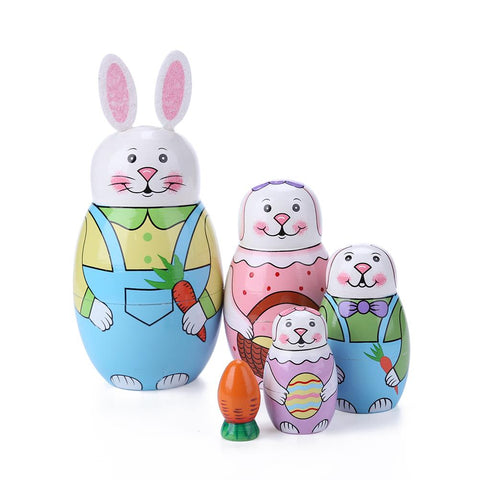 5 Layer Rabbit Nesting Matryoshka Doll Hand Painted Set Russian Doll Toy