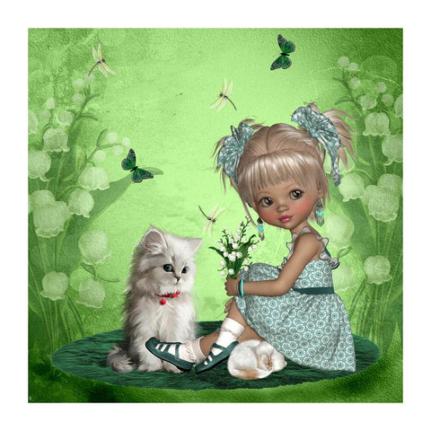 Diamond Painting - Full Round - Little Girl Cat