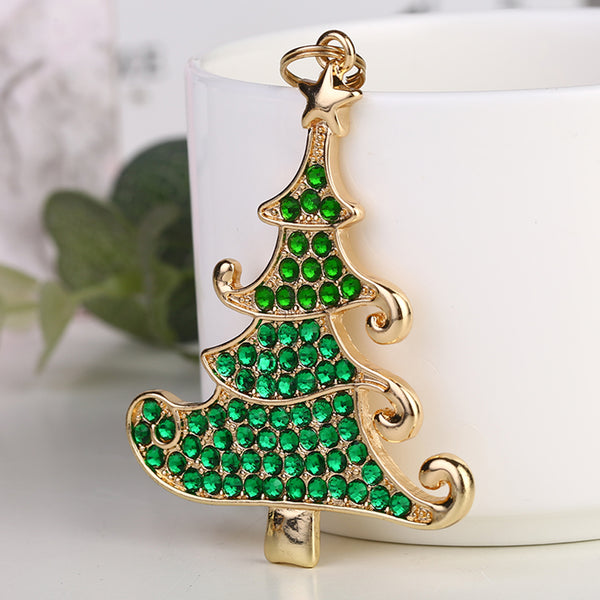 DIY Full Drill Diamond Painting Christmas Tree Keychain Necklace Pendants