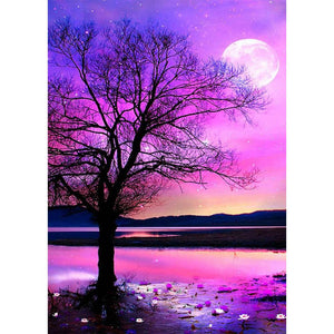 Diamond Painting - Full Round - Purple Sky Tree