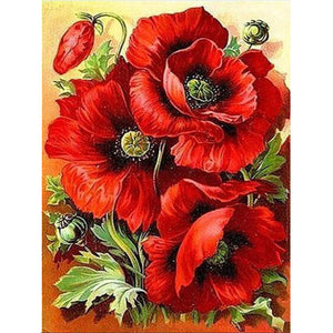 Diamond Painting - Full Square - Red Flower