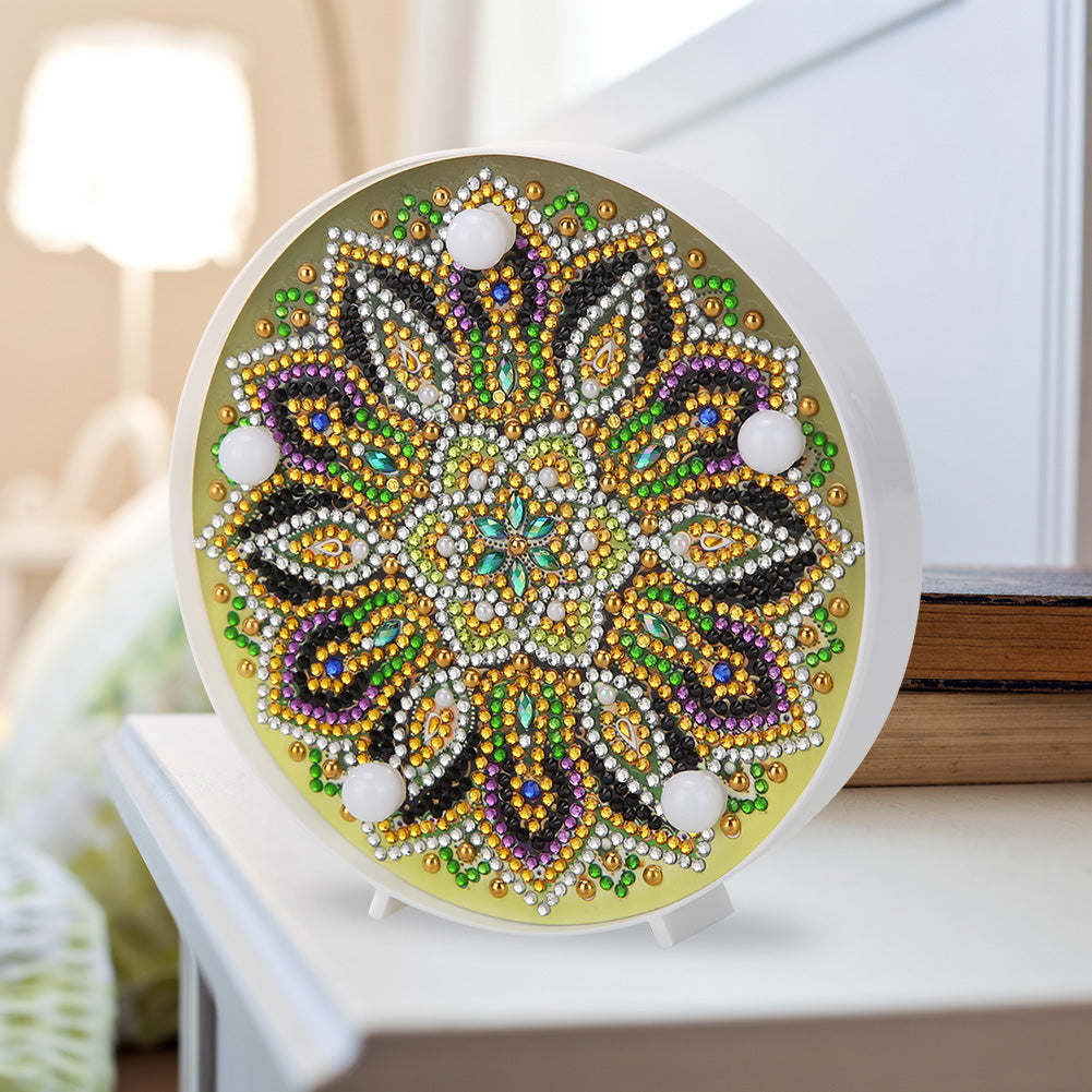 DIY Special Full Drill LED Diamond Painting Light Mandala Cross Stitch Lamp