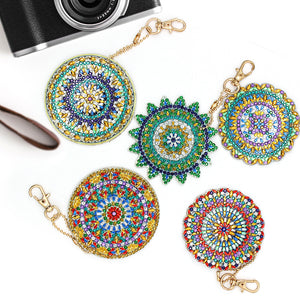 5pcs DIY Full Drill Diamond Painting Special Shape Mandala Pattern Key Chain