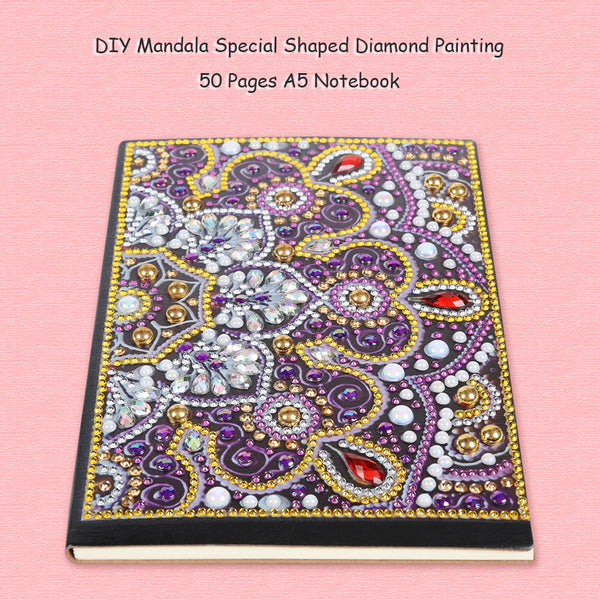 DIY Mandala Special Shaped Diamond Painting 50 Pages A5 Notepad Notebook