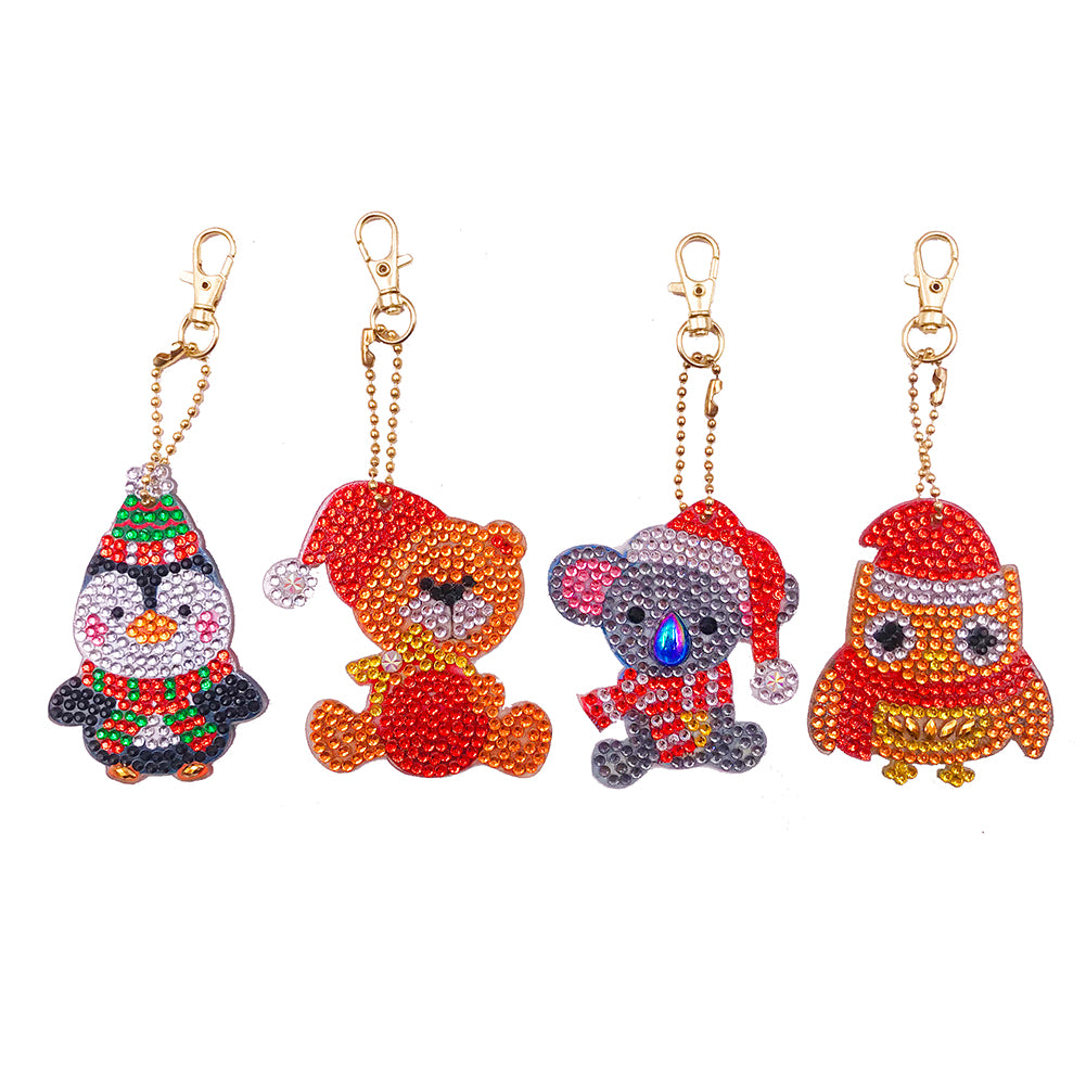 4pcs DIY Full Drill Special Shaped Diamond Painting Cute Animal Key Chain