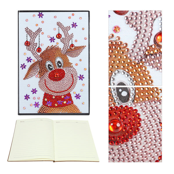 DIY Christmas Elk Special Shaped Diamond Painting 60 Pages A5 Notebook Gift
