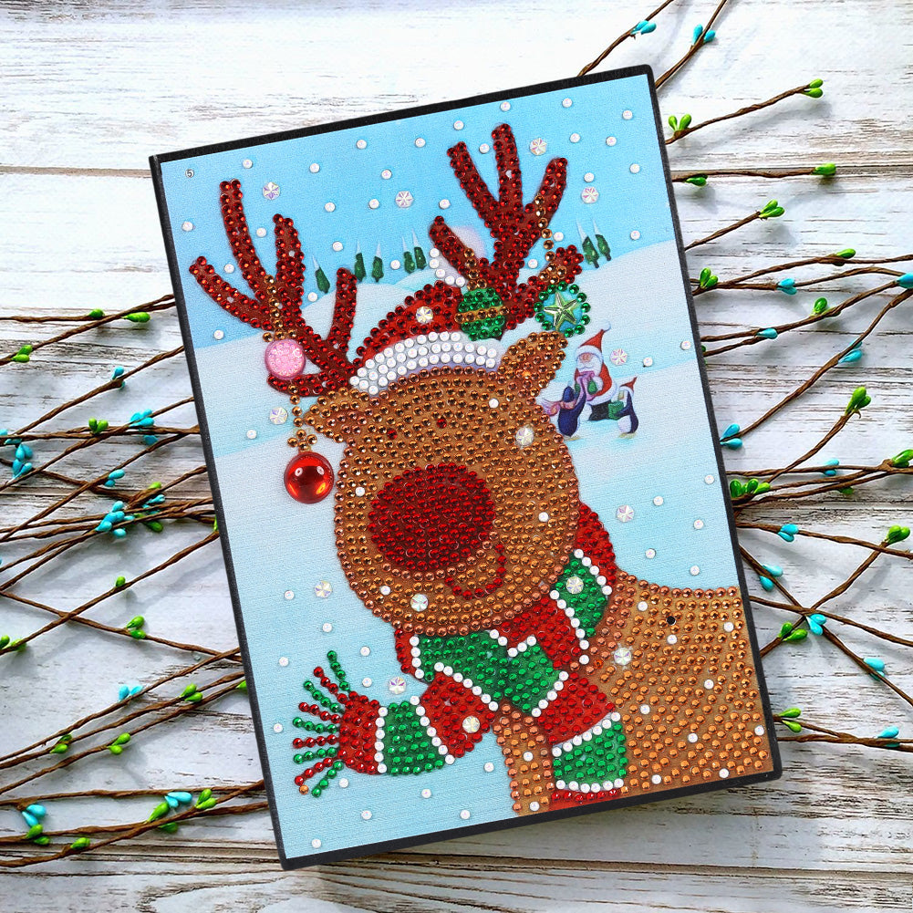 DIY Christmas Elk Special Shaped Diamond Painting 60 Pages A5 Diary Book