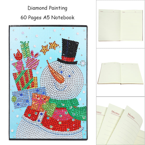 DIY Christmas Snowman Special Shaped Diamond Painting 60 Pages A5 Notepad