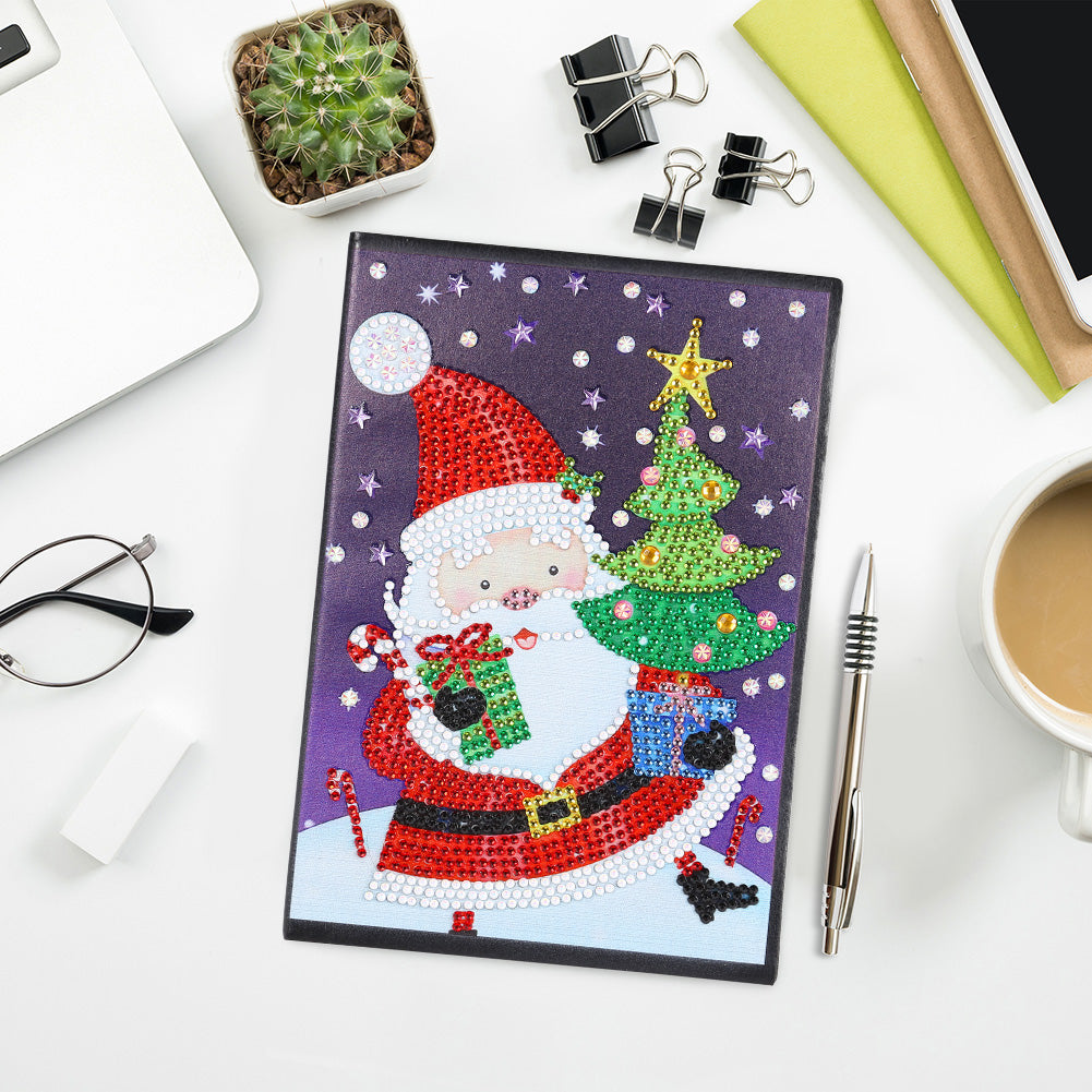 DIY Santa Claus Special Shaped Diamond Painting 60 Page A5 Notebook Notepad