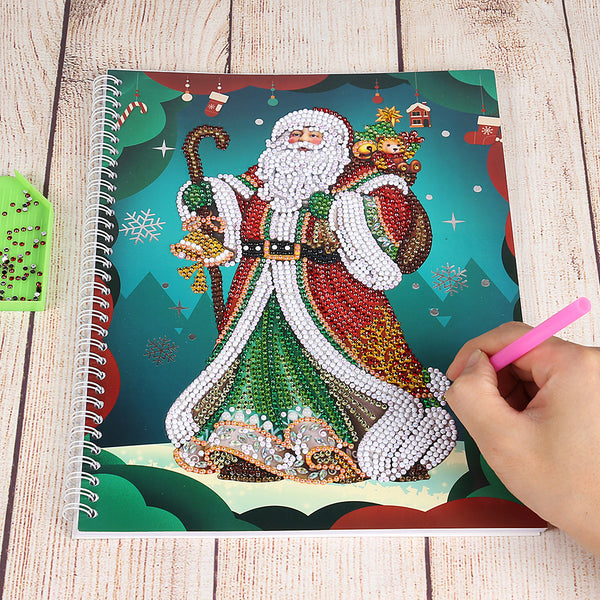 DIY Santa Claus Special Shaped Diamond Painting 50 Pages A4 Office Notebook