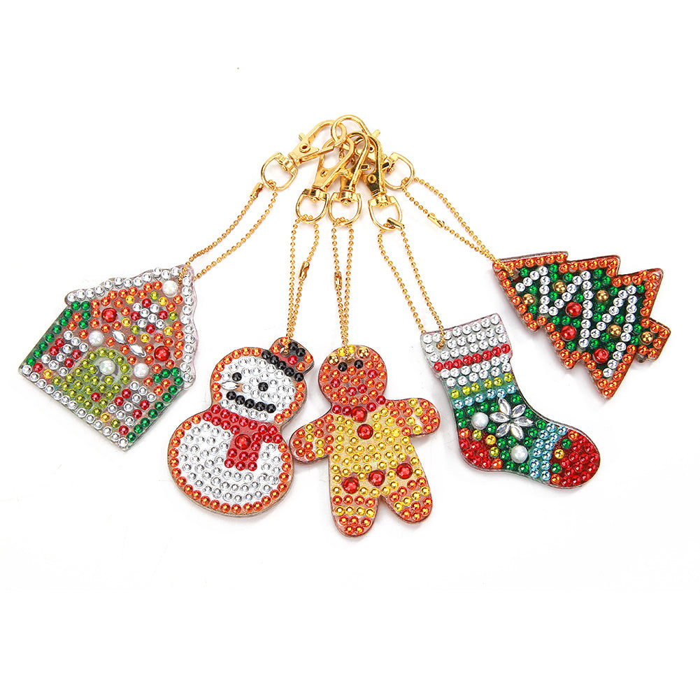 5pcs DIY Full Drill Special Shaped Diamond Painting Christmas Women Keyring