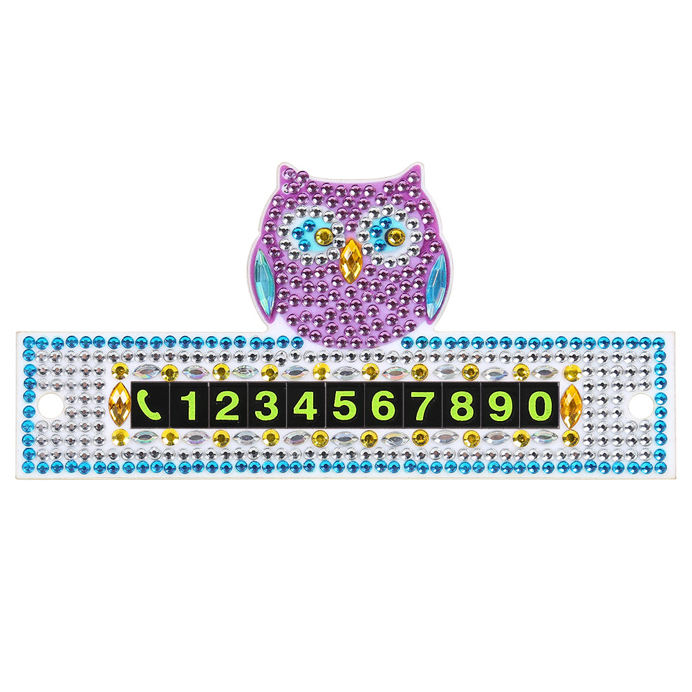 DIY Owl Special Shaped Diamond Painting Luminous Parking Phone Number Plate