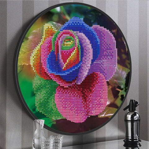 Rose Flower Mural Coffee Tassel DIY Diamond Painting Round Drill Home Decor
