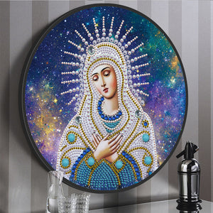 DIY Diamond Painting Special Shape Virgin Mary Mural Pink Tassel Home Decor
