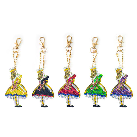 5pcs/set DIY Full Drill Diamond Painting Girls Keychain Embroidery Craft