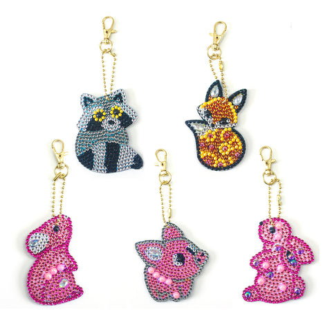 5pcs/set DIY Full Drill Special Shaped Diamond Painting Animal Keychain