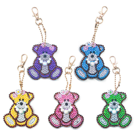 5pcs DIY Full Drill Special Shaped Diamond Painting Bear Keychain