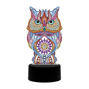 DIY Special Shaped Diamond Painting Owl LED Light Cross Stitch Embroidery