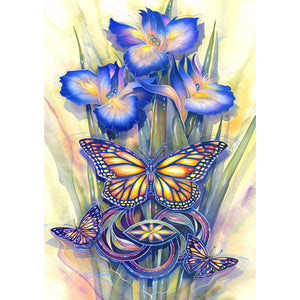 Diamond Painting - Full Round - Flower Butterfly