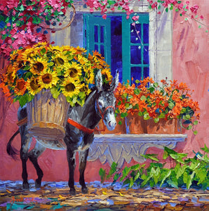 Diamond Painting - Full Round - Donkey Sunflower