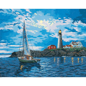Diamond Painting - Full Round - Sailboat Lighthouse