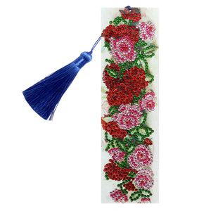 DIY Special Shape Diamond Painting Leather Rose Bookmark Tassel Embroidery