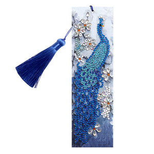 DIY Special Shape Diamond Painting Leather Tassel Peacock Bookmark Crafts