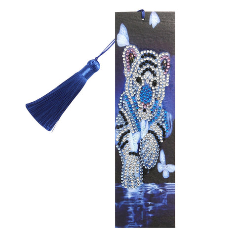 DIY Special Shape Diamond Painting Leather Bookmark Tiger Tassel Book Logo