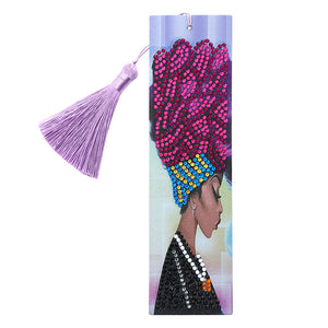 DIY Special Shape Diamond Painting Leather Lady Bookmark with Tassel Crafts
