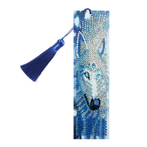 DIY Special Shape Diamond Painting Leather Bookmark Tassel Wolf Embroidery