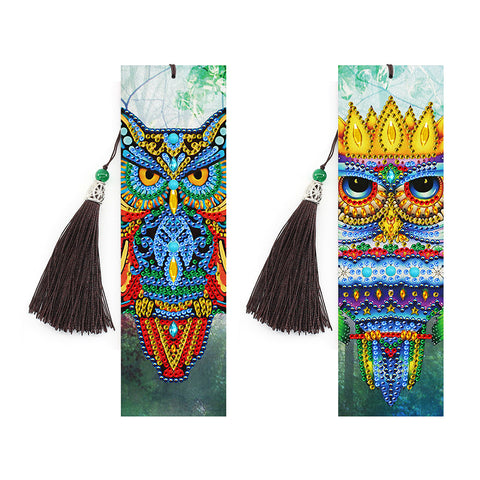 2x 5D DIY Diamond Painting Leather Bookmarks Bird Embroidery Cross Stitch