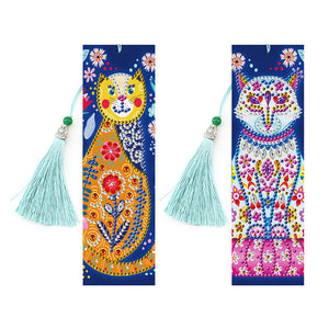 2x DIY Diamond Painting Leather Bookmarks Tassel Cat Embroidery Page-Marker