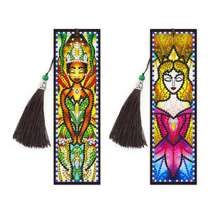 2x 5D DIY Diamond Painting Leather Bookmarks Tassel Girl Embroidery Craft