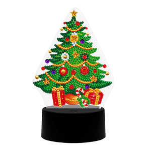 DIY Christmas Tree Diamond Painting LED Light Embroidery Home Night Lamp