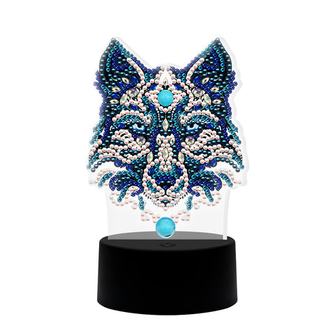 DIY Wolf Diamond Painting LED Light Embroidery Night Lamp Home Desk Decor