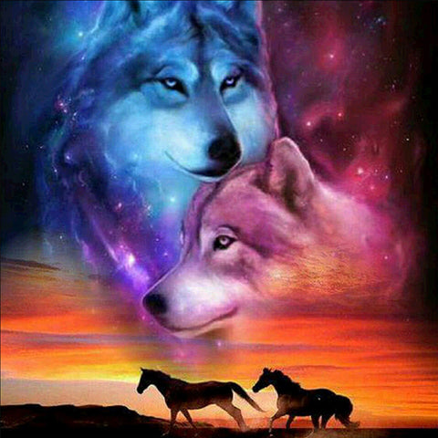 Diamond Painting - Full Round - Two Wolves(40*40cm)