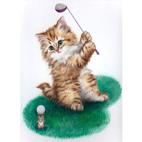 Diamond Painting - Full Round - Playing Golf Cat